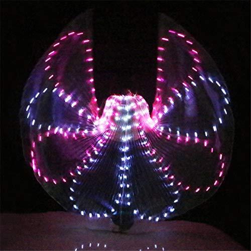 Vistoso Alas LED para Danza del Vientre Actuacin Disfraz LED Alas Danza Accesorios Chicas LED Alas Disfraz LED Mariposa Alas con Palo