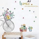 Vinilos De Pared Y Pared 2 Unids/Set Sonrisa Combinada Tema Etiqueta De La Pared Flor Para La Sala De Estar Decoración Para El Hogar