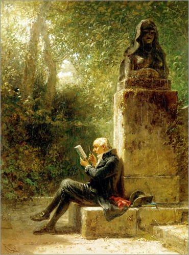 Posterlounge Holzbild 30 x 40 cm: Der Philosoph (Der Leser im Park) von Carl Spitzweg/ARTOTHEK