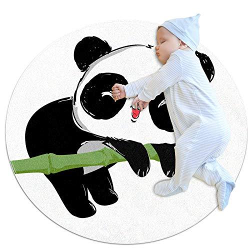 Lurnies Kinderteppich Cartoon Panda Bambus Teppiche für Kleinkinder - Weiche Spielzeit, Home Decor Tipi Zelt Runde Spielmatte, 100cm