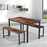 MIERES 3-Piece Dining Table Set with 2 Benches, Modern Kitchen Table Set with Metal Frame and MDF Board, Breakfast Nook Table Set, Contemporary Home Furniture for Small Space, Industrial Brown