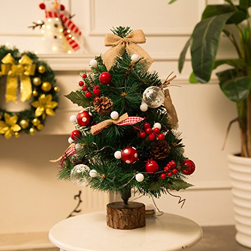USVSU 1.64Ft Artificial Flocked Christmas Tree Set with Led Light-Premium Solid Stand & Wooden Base, Easy Assembely Xmas Tree for Outdoor Indoor Home, Office, Shops, and Hotels Window Decor Ornaments