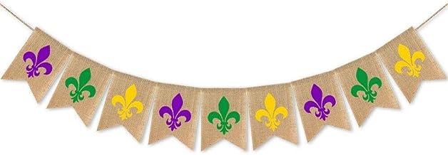 SWYOUN Burlap Mardi Gras Banner New Orleans Party Mantel Fireplace Garland Decoration Supplies