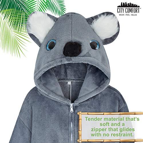 Pijamas de un Pieza Niño Niña Unicornio Conejo Koala Perro Gato Dinosaurio Pingüino Pijama Niños Niñas 2-14 Años (9-10 años, Koala Gris)