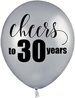 Silver Cheers to 30 Years, 30th Birthday Balloons, 30th Birthday Party Decorations, Cheers to 30 Years Retirement Party Decorations, Retirement Party Balloons, 30th Anniversary Balloons, Set of 3