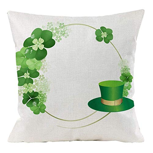 Celucke St. Patrick's Day Pattern Pillow Covers, Cotton Linen Decorative Pillowcases Sofa Cushion Cover for Home Favor Decoration 18inch x 18inch