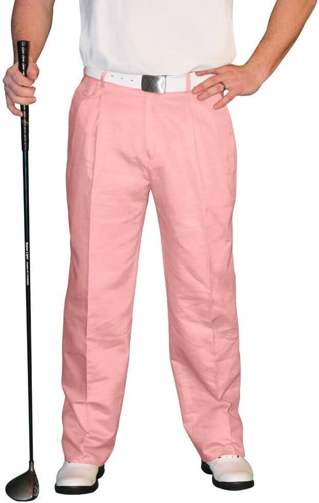 1950s Men's Pants, Trousers, Shorts | Rockabilly Jeans, Greaser Styles Pink Golf Trousers - Mens Par 4 Cotton  AT vintagedancer.com