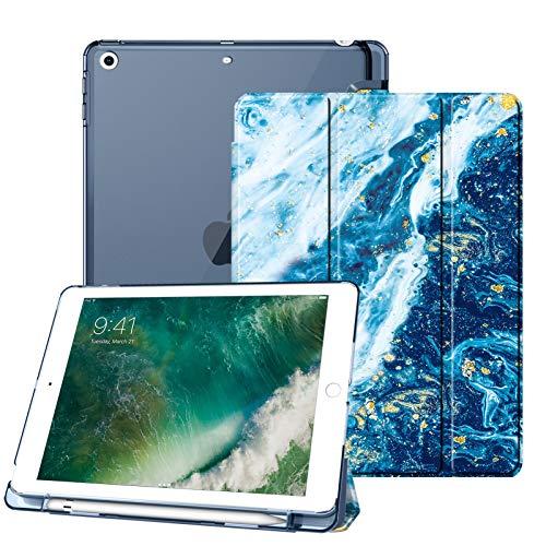 Fintie Hülle mit Pencil Halter für iPad 9.7 Zoll 2018 - Superdünn Superleicht Schutzhülle mit durchsichtiger Rückseite Abdeckung Cover mit Auto Schlaf/Wach für iPad 6. Generation, Meeresblau
