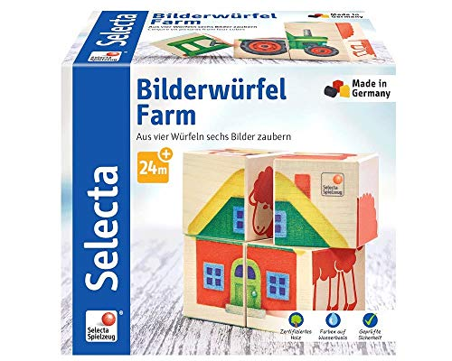 Selecta 62052 Bilderwürfel Farm, Würfelpuzzle aus Holz, 4 Teile