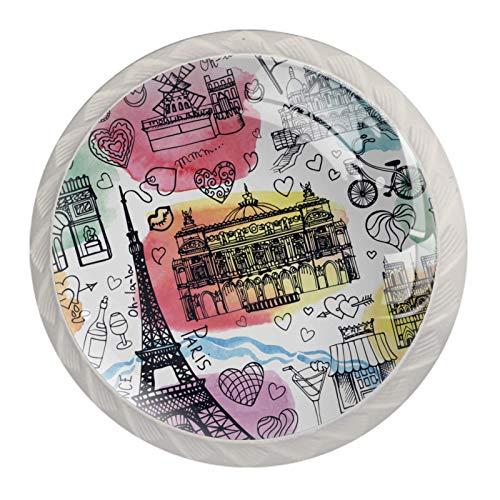 Perillas de gabinete de cocina Perillas decorativas redondas Gabinete Cajones de armario Tirador de tocador 4PCS Paris Graffiti