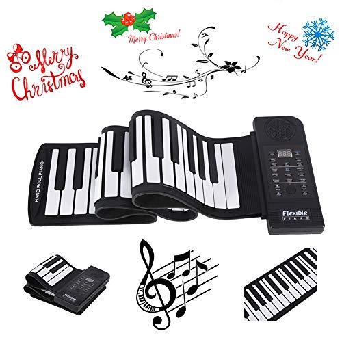 Oumij Pianoforte Pieghevole 61 Tasti Rimboccarsi Arrotolabile Pianoforte Portatile Silicone Morbido Flessibile Tastiera Pianoforte Elettronico Digitale Tastiera Musicale per Principianti, Bambini