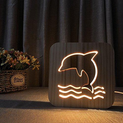 Creative 3D Dolphin Wooden Lamp, LED Table Light USB Power Cartoon Nightlight Desk lamp Home Bedroom Decor Lamp, Gift for Kids Adult Girls Boys Bedroom Living Room Nightstand