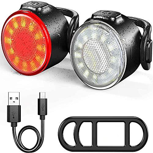 Oture LED Bike Lights Set, Headlight Taillight Combinations, USB Rechargeable Super Bright 6 Light Mode Options, IPX5 Waterproof Bike Light (Red)