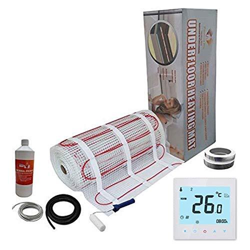 Nassboards Premium Pro - Kit Élite de Calefacción Eléctrica Por Suelo Radiante de 200 W - 8.0m² - Termostato Blanco WiFi Inalámbrico