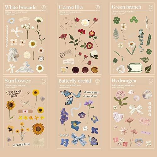 Set de Pegatinas de Flores, NogaMoga 6 Hojas de Pegatinas Decorativas Transparentes de Vinilo, Pegatinas de Temas de la Naturaleza para Tablet, Movil, Bullet Journal, Agenda, Maleta