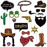 BESTOYARD 18 Pack Cowboy Photo Booth Puntelli Western Photo Booth Accedi Cowboy Party Decoration Accessorio con bambù Sticks per Cowboy Compleanni, Cowgirl Party Supplies, Western Decorations