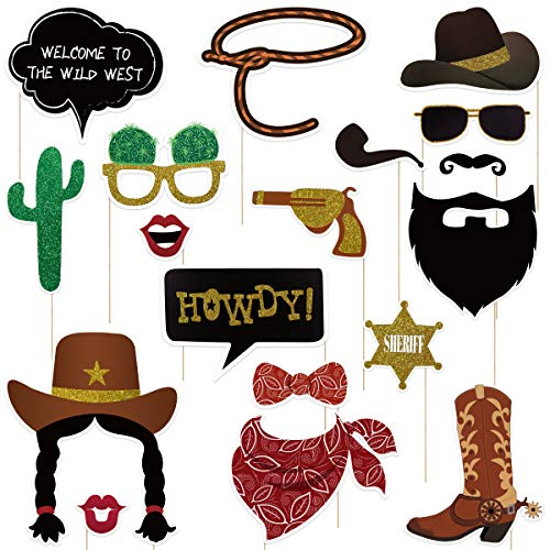 Amosfun West Cowboy Photo Booth Props Wild Western Cowboy Party decoración temática 18pcs