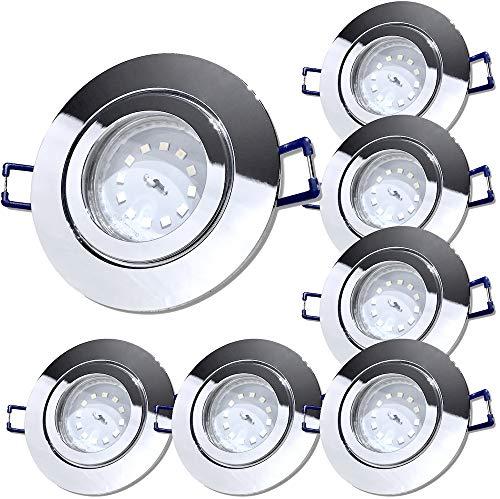 LED Bad Einbauleuchten 230V inkl. 7 x 5W SMD Modul Farbe Chrom IP44 LED Einbauspots Neptun Rund 4000K Deckenleuchten
