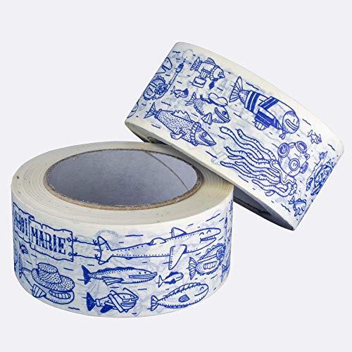 Ahoi Marie® Maritimes Fischschwarm Papier Klebeband 50m – Geschenke besonders verpacken mit tollem blau bedrucktem Packband