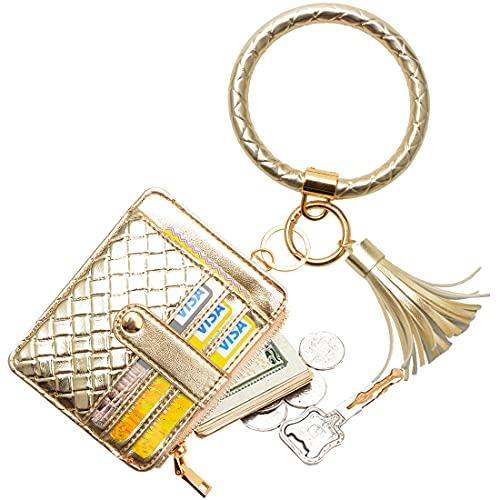 COOLANS Wristlet Bracelet Keychain Card Holder Card Pocket PU Leather Purse Tassel Keychain Bangle Key Ring for Women Girls (Purse A4 Braid pattern Light gold)