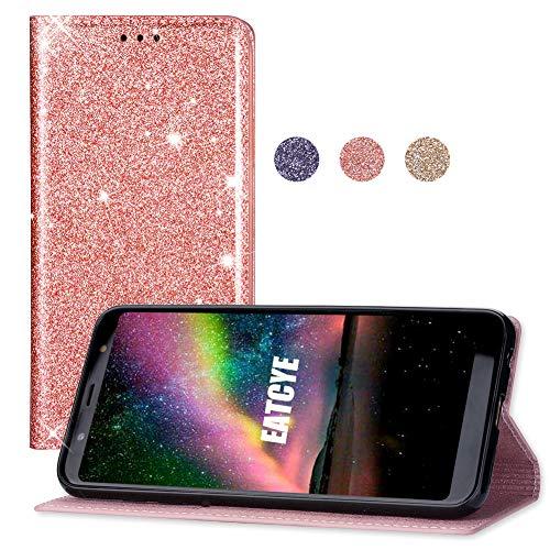EATCYE Coque pour Galaxy A6 Plus 2018, [Ultra Mince] Étui Paillette Strass Brillante Luxe Premium Étui [Antichoc TPU] Cuir Housse [Caché Fermoir Magnétique] pour Samsung Galaxy A6 Plus 2018 (Or Rose)