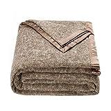 spencer & whitney Bed Throws Blankets Wool Blanket Brown Herringbone Throw Blanket Large Wool Blanket Queen Blanket for Bed