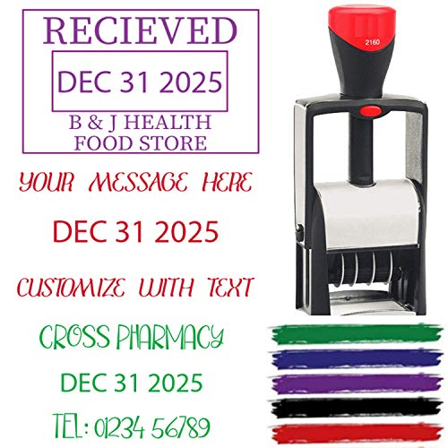 Received Paid Completed Emailed Posted Scanned Approved Heavy Duty 2020 Date Stamp Self Inking Personalize with 23 Lines Custom Text  Self Inking Business Stamp