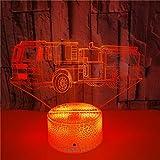 FREEZG luz infantil nocturna Camión de bomberos juguete niños Luz de Noche de Dinosaurio LED 3D Patrón 3 y lámpara de decoración de Cambio de Color 7 con Control Remoto para niños niñas niños