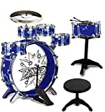 12 Piece Kids Jazz Drum Set – 6 Drums, Cymbal, Chair, Kick Pedal, 2 Drumsticks, Stool – Little...