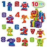 10 Pcs Number Robot Action Figure Toys for Kids Number Learning, Birthday Party, School Classroom Rewards, Carnival Prizes, Education Toy, Easter Basket Stuffers, Christmas Stocking Stuffers