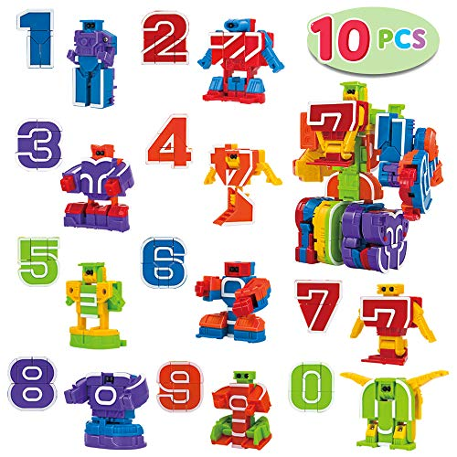 10 Pcs Number Robot Action Figure Toys for Kids Number Learning Birthday Party School Classroom Rewards Carnival Prizes Education Toy Easter Basket Stuffers Christmas Stocking Stuffers