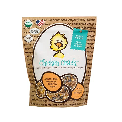 Treats for Chickens Chicken Crack – Nutrition For Birds - Chickens, Quail, Turkeys, Ducks, Pheasant, Geese, Hens, Roosters, Poultry – High Protein, Organic and Non-GMO Grains, Cracked Corn, Sunflower Seeds, Mealworms, River Shrimp - 1 lb. 13 oz Bag