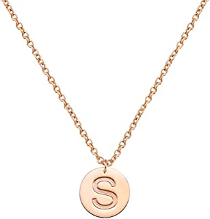 Three Keys Jewelry Stainless Steel Initial Necklace Silver Rose Gold Tone Alphabet 0.4