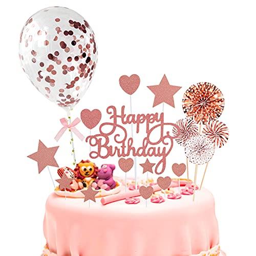 Decoración para Tarta de Cumpleaños Happy Birthday Cake Topper con Abanicos de Papel Confeti Globos Brillante Cupcake Topper para Niña Niños Hombres Mujeres Fiestas Oro rosa 19Pcs
