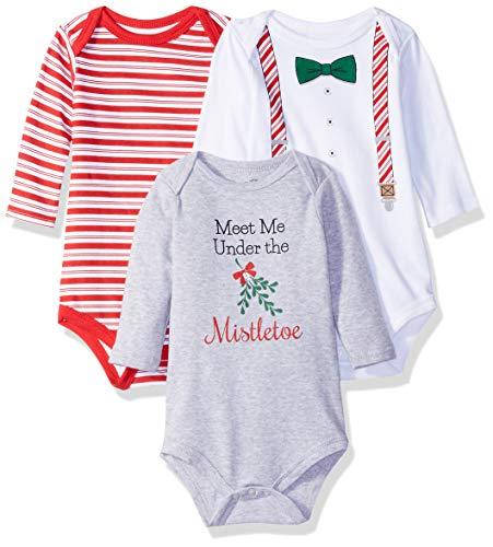 Little Treasure Baby Cotton Bodysuits, Christmas Suspenders, 0-3 Months