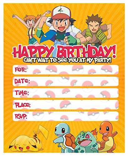 Happy Choice Invitation Cards - Pokemon New Happy Birthday Fill-in 20 Envelopes-Light Weight 230 Gram Post Card Style Invites for Kids Party