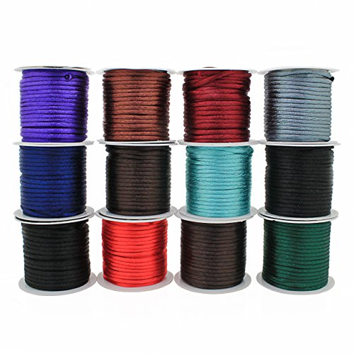 RUBY - Hilo de macrame 0.8mm, cuerda de nylon, cordón de nylon, cuerda trenzada, cuerda de macramé para pulsera, collares y bisuterías 100 yardas (Negro)