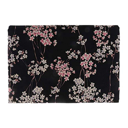 Sitrda (1 unidad) Tela de algodón estampada con flor de ciruelo, tela japonesa de algodón por metro, 50 x 140 cm, color negro