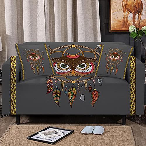 Funda Elástica para Sofá ImpresoBúho marrón 3 Plaza Universal Funda Cubre Sofas Ajustables Antideslizante Decorativas Protector Sofa de Muebles (195-230cm)