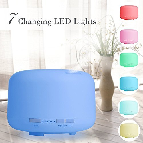 Bormart 500ml Aromatherapy Essential Oil Diffuser, Aroma Cool Mist Humidifier with Waterless Auto Shut-off and 7 Color LED Lights Changing for Office, Home, Baby, Yoga, Spa