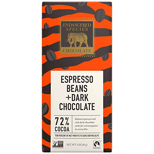 Endangered Species Chocolate Bars | Rich Dark Chocolate Bar | 72% Cocoa with Espresso Beans | Made from Fair Trade Coffee Beans Roasted in the USA | Vegan & Gluten Free | 3-Ounce Bars (Pack of 12)