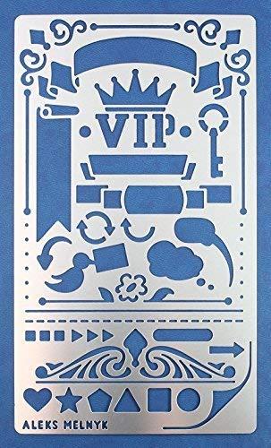 Aleks Melnyk #2 Plantilla Stencil de Metal para estarcir/Ornamento flor Banner corona/para Arte Manualidades y decoración/Plantilla para Estarcidos/para Pintar con Aerógrafo/1 piezas/Bricolaje, DIY