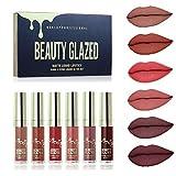Beauty Glazed 6 Pcs mini Matte Liquid Lipgloss Women Lip Set Easy to Wear Lipstick Velvet Waterproof Long Lasting Lip Gloss Brand Makeup Cosmentic