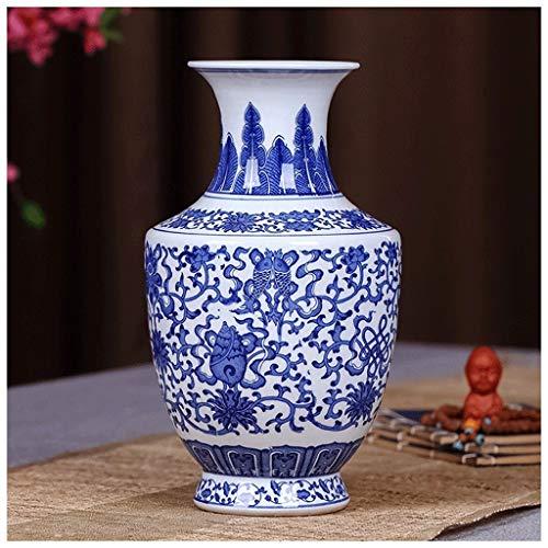 HongLianRiven keramische vaas oud blauw en wit porselein rijke bamboe woonkamer TV kast decoratie Chinese Home Office Desktop decoratie 10-26