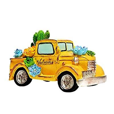 ASAWASA Solar Garden Statues and Sculptures Outdoor Decor, Garden Figurines with Solar Powered Lights for Patio,Lawn,Yard Art Decoration, Housewarming Garden Gift,5.3x9.7x5.5 Inch(Yellow)
