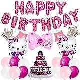Juego de globos temáticos - Miotlsy 21 piezas Hello Kitty suministros de fiesta de cumpleaños, globo de helio, globos de aluminio, globos de fiesta, suministros de decoración de cumpleaños para niños
