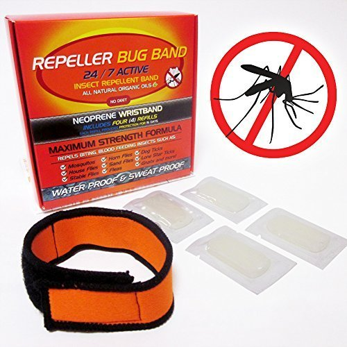 REPELLER MOSQUITO BAND + 4 FREE REFILLS All Natural Insect Repellent BUG BRACELET (Ticks, Flies, Fleas, Ticks, Gnats) DEET FREE NEOPRENE No Spray Pest Control Safe For Babies Kids GUARANTEED TO WORK