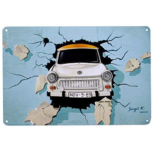 Blechschild Trabant | Metall, 20x30 cm | DDR Nostalgie | Wand Dekoration | Retro Vintage Schild | Geschenk & Souvenir