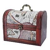 Cofre del tesoro vintage, joyero vintage Caja de joyería Anillo Pendientes Collar Colgante Caja de almacenamiento Organizador para accesorios de joyería Objetos de valor Caja fuerte de madera(01)