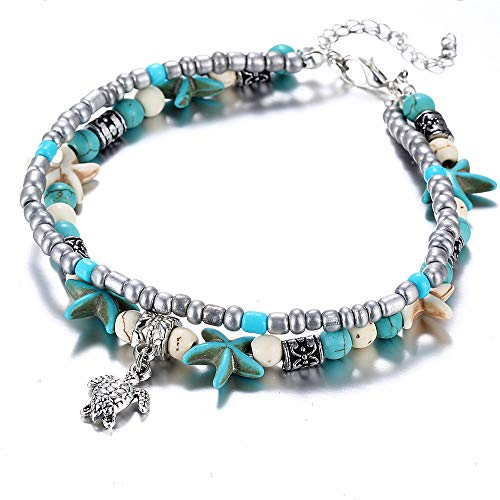 WLLAY Ocean Wave Anklet Turquoise Starfish Star Sea Bead Bracelet Boho Multiple Layered Chain Anklet Sandals Foot Jewelry (sea Turtle)